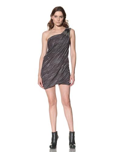Cut25 Women's One-Shoulder Python Print Dress (Navy/Olive)