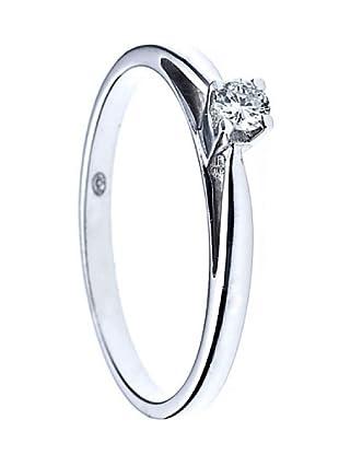 Design Diamond Anillo Boucles Rails Oro Blanco 0.10 Cts