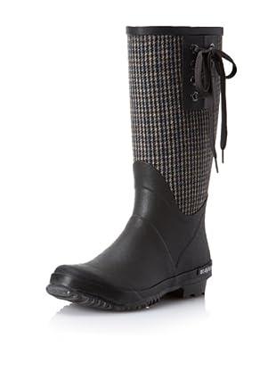 SeaVees Women's Off Shore Mid Rain Boot (Grey Plaid Flannel)