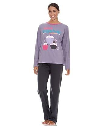 Blue Dreams Pijama Señora Punto Liso (gris)