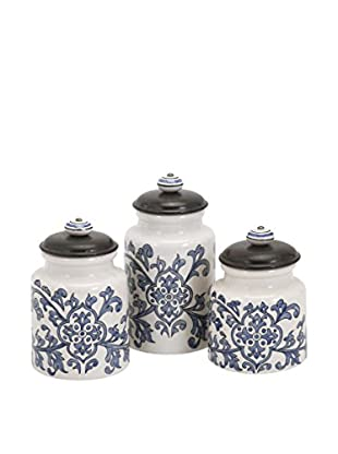 Set of 3 Vera Hand-Painted Canisters