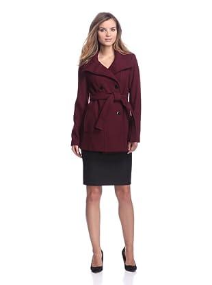 Calvin Klein Women's Double-Breasted Coat (Merlot)