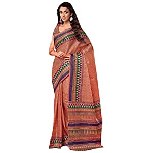 Light Brown and Light Peach Khadi Silk Saree with Blouse