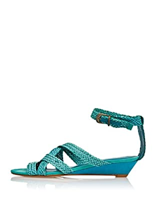 Cortefiel Keil-Sandale Intrecciati (Blau)