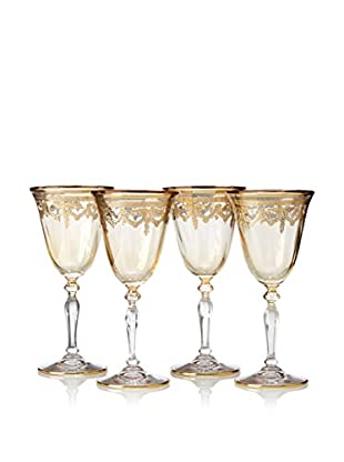 A Casa K Melodia Set of 4 Engraved Crystal 7-Oz. Cordial Glasses, Clear/Gold