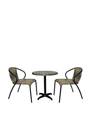Outdoor Pacific by Kannoa Round Wicker Pedestal Dining Set, Coconut