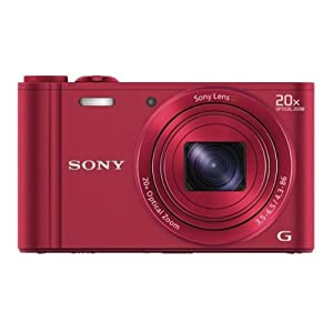 Sony Cyber-shot DSC-WX300/RCE32 18.2MP Point-and-Shoot Digital Camera (Red) with Camera Case