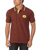 Rampwaq Men's Polo (RWPQPL009_XL_Brown_X-Large)