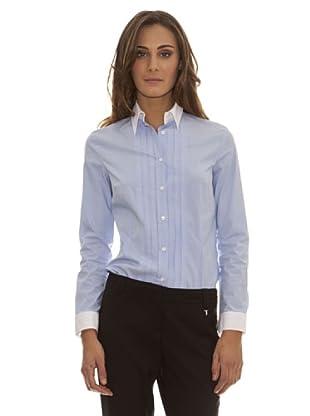 Trussardi Camisa Rayas Y Pliegues (Azul)