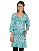 Sohniye Block Printed Cotton Kurta-Blue Color