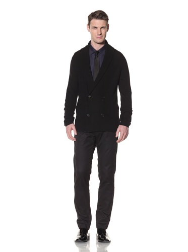 Halston Men's Double-Breasted Shawl Collar Cardigan (Black)