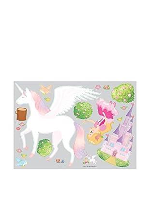 Ambiance Live Vinilo Decorativo Princess, Unicorn and Castle Multicolor