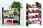 Kawachi Convertible Lightweight 4 Tier Shoe Rack (12 Pairs) (Black With Silver, 23 cm x 7 cm x 65 cm)
