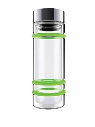 AdNArt Bumper Bottle Double Wall Glass Bottle (Green/Silver Lid)