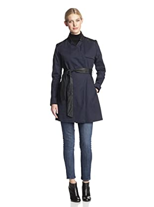 French Connection Women's Inverted Collar Trench (Navy)