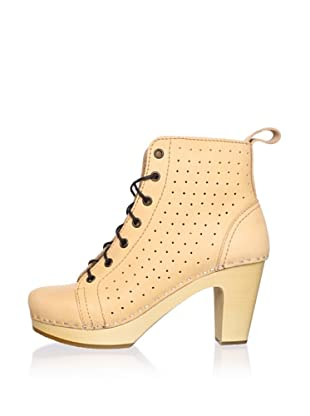 Swedish Hasbeens Women's Perforated Lace-Up Ankle Boot (Nature)
