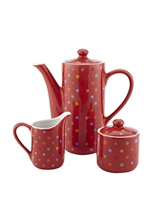Classic Coffee & Tea Polka-Dot Teapot Plus Sugar and Creamer Set, Red, 20-Oz.