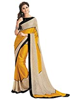 Yellow and Biege printed crepe saree with blouse