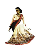 Faux Georgette Gold & Brown Colour Saree for Party Wear