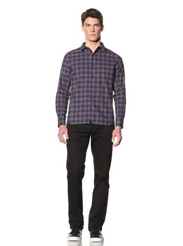 Number:Lab Men's Plaid Long Sleeve Woven (Navy Plaid)