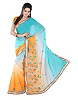 Khushali Multicolored Sky Blue & Orange Chiffon Saree With Unstitched Blouse Piece
