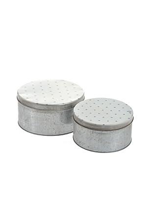 Jolipa Conjunto de 2 Cajas redondas de zinc
