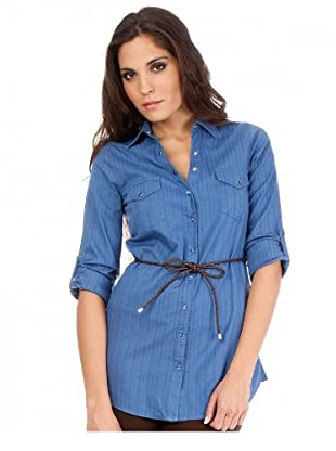 Cortefiel Bluse mit Gürtel (Blau)