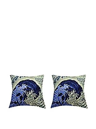 JAPAN MANIA by MANIFATTURE COTONIERE Kissenbezug 2er Set Katsushika Hokusai-Feminine Wave