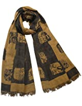 Chinese English Character Seal Stamps Cotton Long Scarf Shawl - Copper