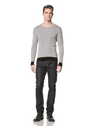 Jacob Holston Men's Kuper Black Ribbing Sweater (Lt. Grey)
