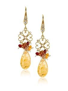 Leslie Danzis Gold Multi-Stone Teardrop Earrings