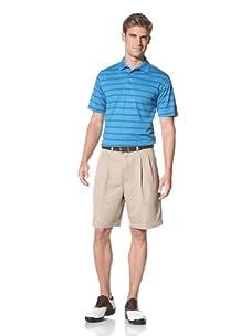 PGA Tour Men's Short Sleeve Stripe Polo (blue jewel)