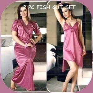 Honeymoon Fish Cut Nightwear 2 Piece In Net & Satin Lycra-Onion