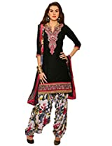 Inddus Women Black Embroidered Cotton Blend Dress Material
