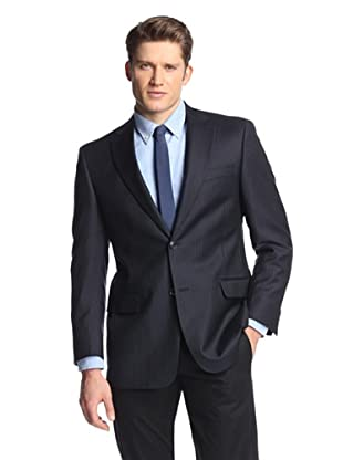 hickey Men's 2 Button Side Vent Striped Sportcoat (Navy)