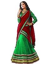 Melluha Women's Net Lehenga Choli(ml-0067_Green_Free Size)