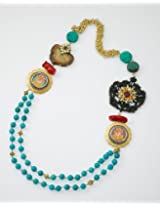 Blue Beaded necklace with Ganesha pendents