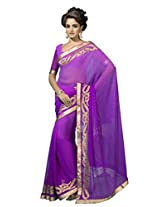 Suvastram Women Georgette Embroidered Purple Saree