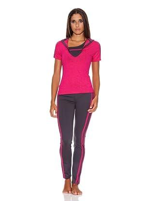Adriana Arango Conjunto de Top, Camiseta  y Legging (Fucsia)