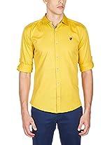 GHPC Men's 100% Cotton Casual Shirt(CS622515_44_Mustard)