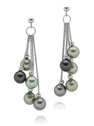 Perldor - 60650193 Pendientes de mujer de Gris de ley con perla natural Verde
