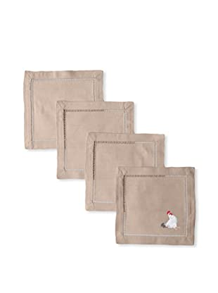 Henry Handwork Set of 4 Hand-Embroidered Cotton Rooster Cocktail Napkins
