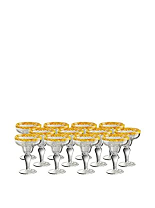 Artland Mingle Set of 12 Margarita Glasses, Yellow
