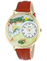Whimsical Watches Unisex G-0110001 Rooster Brown Leather Watch