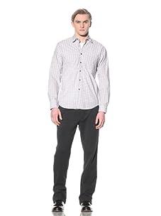 Steven Alan Men's Reverse Seam Button-Front Shirt (blue/white plaid)
