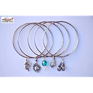 Under the Feather Charm Bangles- Sea theme