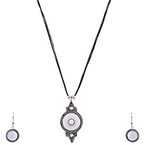 The Crazy Neck Neck Piece With White Metallic Pendant Woven In Black Color Leather Textured Thread jewellery Set