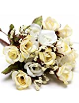 Artificial Roses Silk Flowers Home Room Party Decor (White)