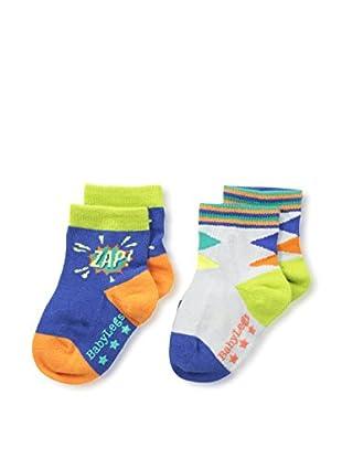 Baby Legs Kid's 2-Pack Infant Boys Sock (Grey/Blue)