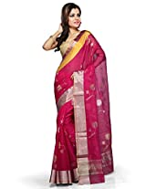 Utsav Fashion Women's Fuchsia Pure Chanderi Silk Handloom Saree with Blouse